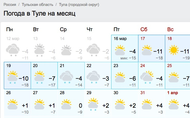 О погоде в Туле