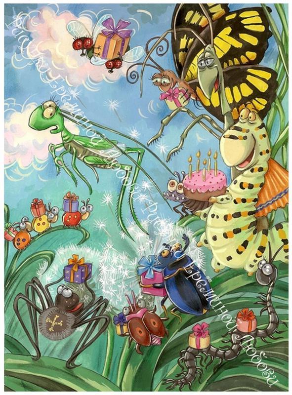 Открытка с жуками